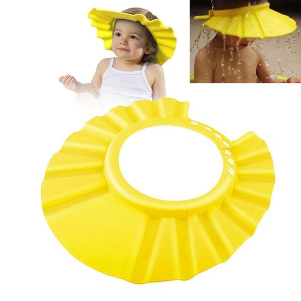 Children Safe Shampoo Shower Bathing Protection Bath Cap Soft Adjustable Visor Hat for Toddler Yellow Kids Baby zyp