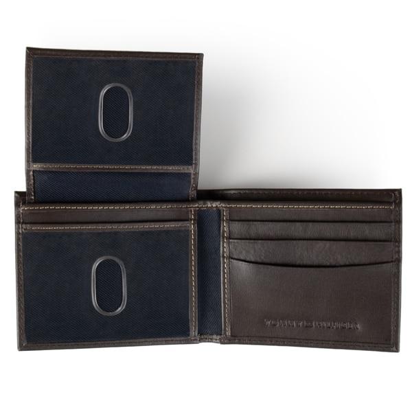 Tommy Hilfiger Men/'s Genuine Leather Passcase Bifold Wallet Tan