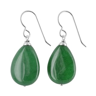 Ashanti Emerald Green Jade Gemstone Sterling Silver Handmade Earrings