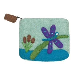 Wild Woolies Dragonfly and Cattails Felt Coin Purse (Nepal)