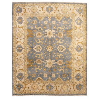 Herat Oriental Indo Hand-knotted Oushak Light Blue/ Ivory Wool Rug (8'1 x 10')