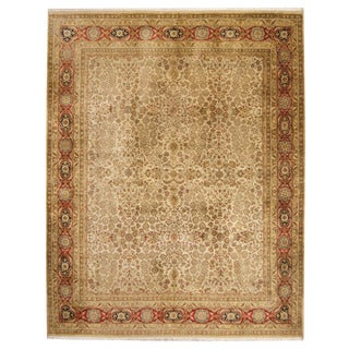 Herat Oriental Indo Hand-knotted Kerman Ivory/ Red Wool Rug (7'9 x 10')