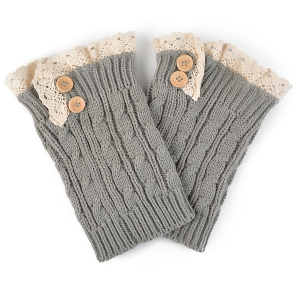 Journee Collection Women's Knit Lace and Button Boot Cuffs