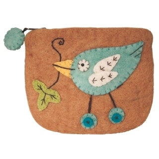 Handmade Wild Woolies Felt Button Bird Coinpurse (Nepal)