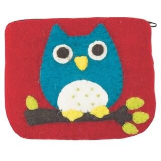 Handmade Wild Woolies Owl Red Wool Felt Coinpurse (Nepal)