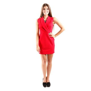 Hadari Women's Sleeveless Mini Sheath Dress With Asymmetrical Lapel Closure