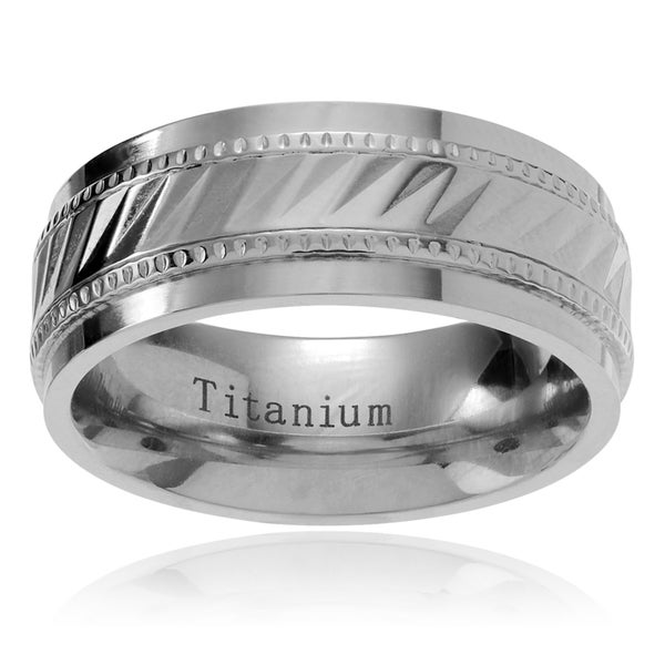 Territory Men's Titanium Notched Center Milgrain Wedding Band (8mm)
