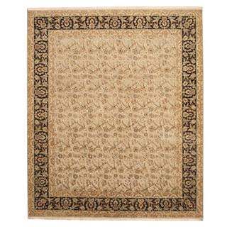 Herat Oriental Indo Hand-knotted Tabriz Beige/ Black Wool Rug (8'2 x 9'8)