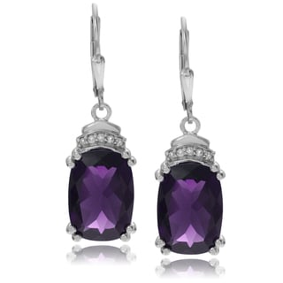 Journee Collection Sterling Silver 8 ct Amethyst and Topaz Dangle Earrings
