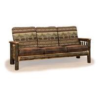 Rustic Hickory Sofa Bear Mt. Fabric Amish Made USA