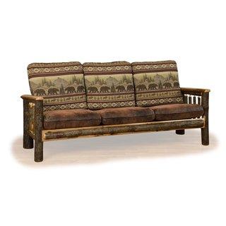 Merveilleux Rustic Hickory Sofa *Bear Mt. Fabric* Amish Made USA