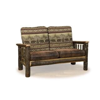Rustic Hickory Love Seat Sofa *Bear Mt. Fabric* Amish Made USA
