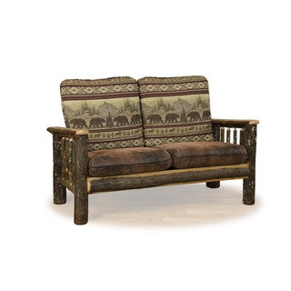 Rustic Hickory Love Seat Sofa Bear Mt. Fabric