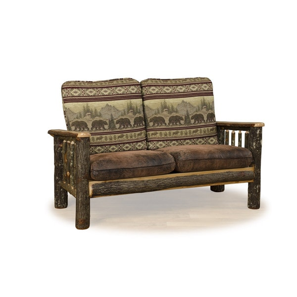 Delicieux Rustic Hickory Love Seat Sofa Bear Mt. Fabric