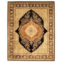 Handmade Herat Oriental Indo Kerman Wool & Silk Rug  - 8' x 10' (India)