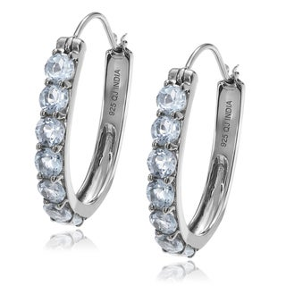 Journee Collection Sterling Silver Topaz Elongated Hoop Earrings