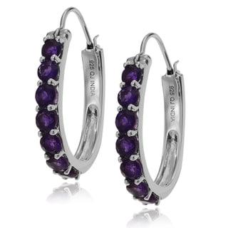 Journee Collection Sterling Silver Amethyst Elongated Hoop Earrings