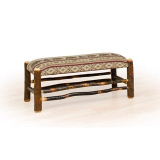 Rustic Hickory Upholstered Bench Bear Mt. Fabric Amish Made USA