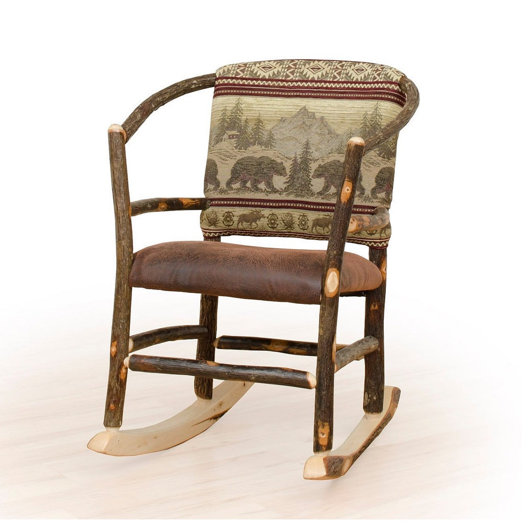 Rustic Hickory Hoop Rocking Chair Bear Mt. Fabric Amish Made USA (Rustic Hickory Hoop Rocker *Bear Mt. Fabric*)