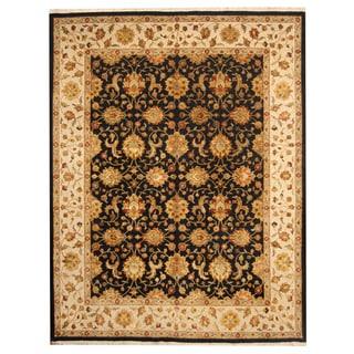 Herat Oriental Indo Hand-knotted Tabriz Black/ Ivory Wool Rug (8'2 x 10'5)