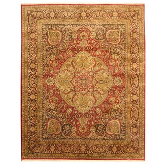Herat Oriental Indo Hand-knotted Isfahan Red/ Brown Wool Rug (7'10 x 9'10)