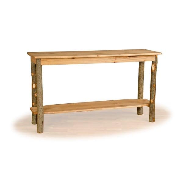 Rustic Hickory Oak Sofa Table Amish Made Usa Brown