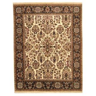 Herat Oriental Indo Hand-knotted Sarouk Beige/ Black Wool Rug (8' x 10')