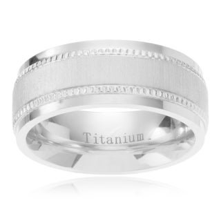 Territory Men's Titanium Satin Finish Center Milgrain Edge Wedding Band (8mm)
