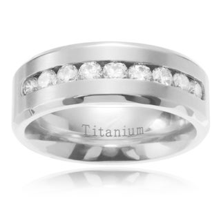 Men's Titanium Channel-set Cubic Zirconia Beveled Edge Wedding Band