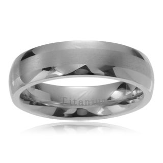Men's Titanium Brushed Center Wedding Band