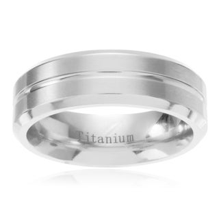 Men's Titanium Grooved Center Brushed Wedding Band