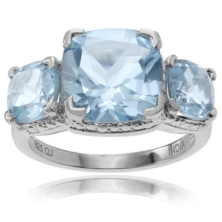 Journee Collection Sterling Silver 6 1/2 ct Topaz 3-stone Ring