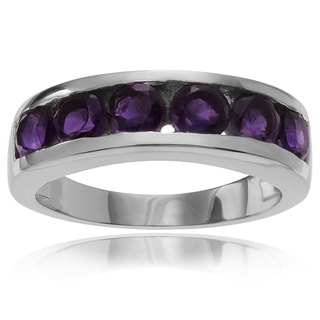 Journee Collection Sterling Silver 1/2 ct Amethyst 6-stone Band