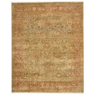 Herat Oriental Indo Hand-knotted Oushak Light Green/ Salmon Wool Rug (8' x 10')