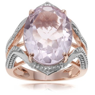 Journee Collection 14k Rose Goldplated Sterling Silver Amethyst 8 3/4 ct Ring