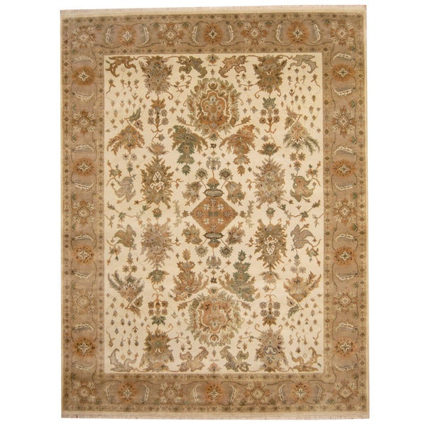 Herat Oriental Indo Hand-knotted Oushak Wool Rug (8' x 10'4) - 8' x 10'4