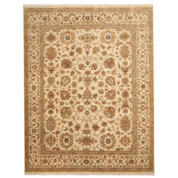 Handmade Herat Oriental Indo Isfahan Wool Rug (India) - 7'8 x 9'10