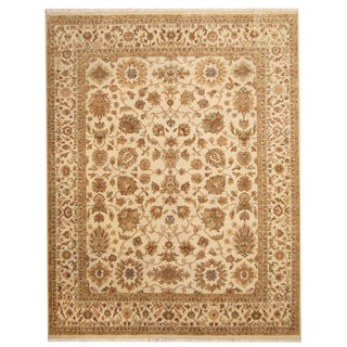 Herat Oriental Indo Hand-knotted Isfahan Beige/ Light Green Wool Rug (7'8 x 9'10)