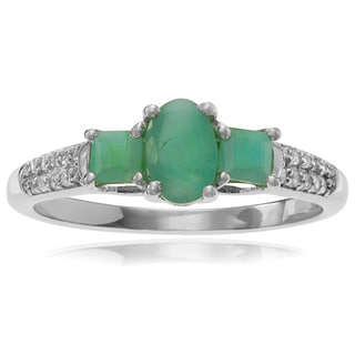 Journee Collection Rhodium Sterling Silver Emerald Topaz 5/8 CT Ring