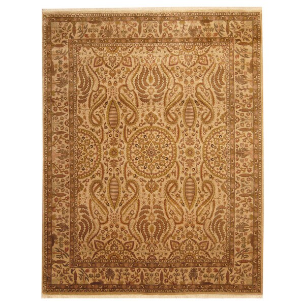 Handmade Herat Oriental Indo Isfahan Wool Rug - 8' x 10' (India)