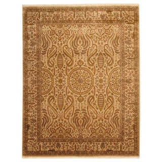 Herat Oriental Indo Hand-knotted Isfahan Beige/ Gold Wool Rug (8' x 10')