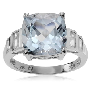 Journee Collection Sterling Silver Blue and White Topaz Ring