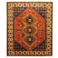 Herat Oriental Afghan Hand-knotted Kargahi Rust/ Beige Wool Rug (8'2 x 9'7)