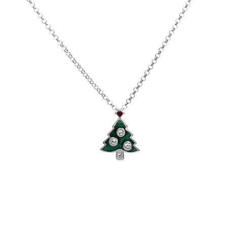 Sterling Silver Enameled Christmas Necklace
