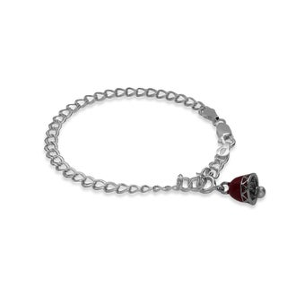 Sterling Essentials Silver Enameled Christmas Bell Charm Bracelet