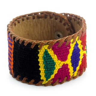Handmade Leather Cotton 'Freedom' Bracelet (Guatemala)