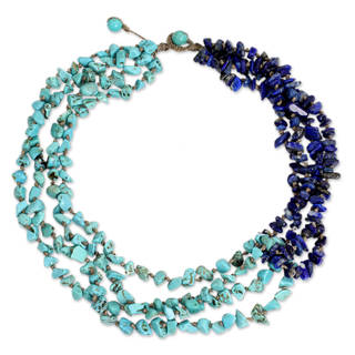 Handcrafted Lapis Lazuli 'Rivers of Blue' Calcite Necklace (Thailand)