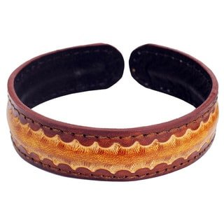 Handcrafted Men's Leather 'Solar Warrior' Bracelet (Thailand)