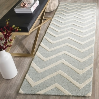 Safavieh Handmade Cambridge Grey/ Ivory Wool Rug (2'6 x 12')