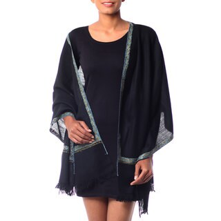 Handcrafted Wool 'Ebony Garden' Shawl (India)
